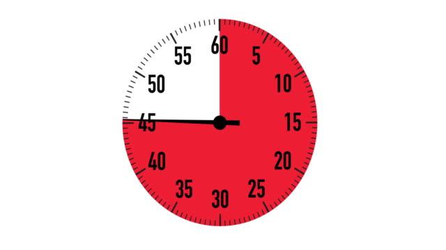 stockvideo's en b-roll-footage met rood & zwart 60-seconden countdown stopwatch afbeelding op witte achtergrond - secondewijzer