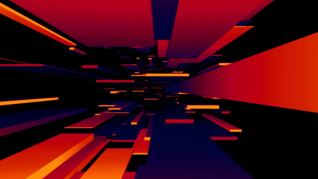 red / blue / orange blocks tunnel loop | abstract futuristic animation - psychedelic stock videos and b-roll footage