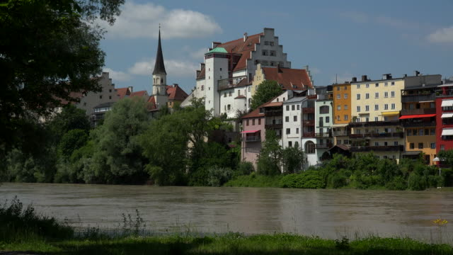 red bridge and inn river, castle and old town, wasserburg am inn, upper bavaria, bavaria, germany - inn river stock videos and b-roll footage