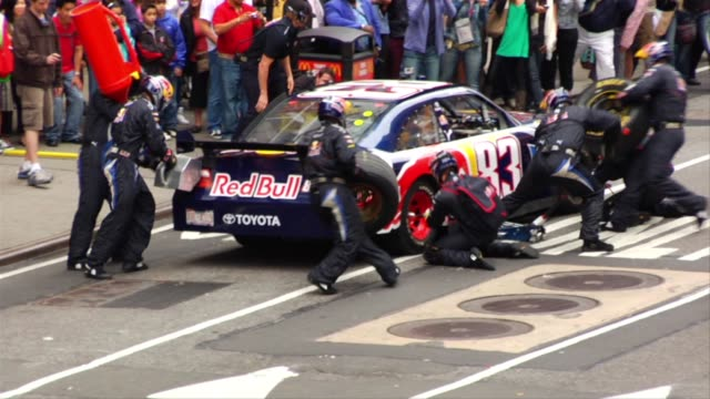 Red Bull Racing Times Square NASCAR Pit Stop with Brian Vickers on Wednesday June 10 2008 at the Red Bull Racing/#83 Pit Stop Guerilla Style at New...
