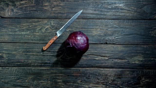red cabbage slicing animation - red cabbage stock videos & royalty-free footage