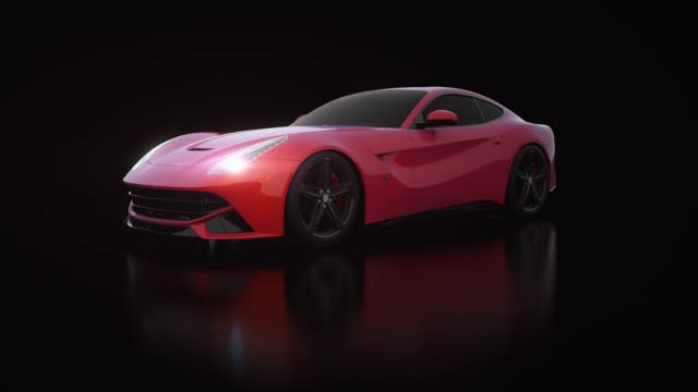 red car front view 3d render on black background - lithium ion battery stock videos & royalty-free footage