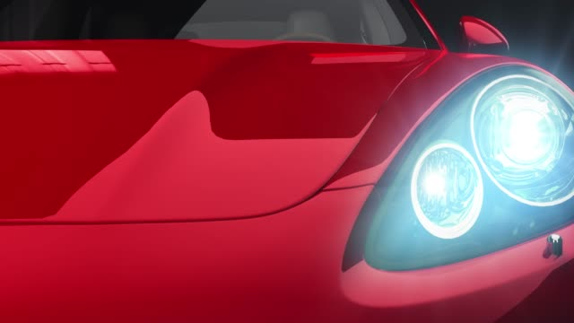 red car front view 3d render on black background - headlight stock videos & royalty-free footage