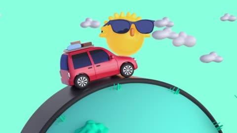 röd bil resa/körning transport natur landskap tecknad stil 3d-rendering rörelse semester sommar koncept - serier bildbanksvideor och videomaterial från bakom kulisserna