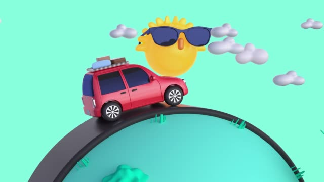 red car travel/driving transportation nature landscape cartoon style 3d rendering motion vacation summer concept - animation stock videos & royalty-free footage