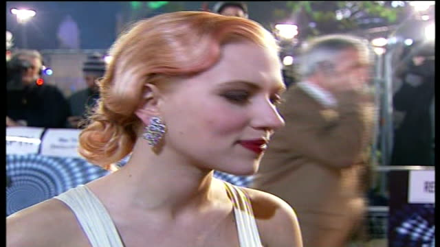 Red carpet arrivals and interviews at 'The Prestige' premiere **some flash photography** Scarlett Johansson interview SOT It does feel like home /...