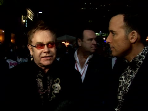 Red carpet interviews at premiere of 'It's a Boy Girl Thing' David Furnish interview SOT On how they came to make film Elton John interview SOT On...