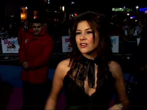 Red carpet interviews at premiere of 'It's a Boy Girl Thing' Imogen Thomas interview SOT On who's body she would swap with and the need for more...