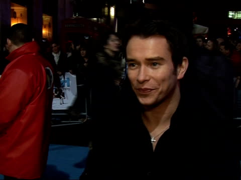red carpet interviews at premiere of 'it's a boy girl thing' stephen gately interview sot on whom he would swap bodies with/ on busy social life... - matt lucas comedian stock videos and b-roll footage