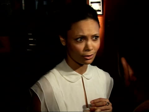 Red carpet interviews at 'Pursuit of Happyness' premiere Thandie Newton speaking to press SOT On feeling mellow at being at home in London with her...