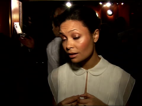 red carpet interviews at 'pursuit of happyness' premiere thandie newton speaking to press sot on difficulties of playing mother who left her son as... - thandie newton stock videos & royalty-free footage