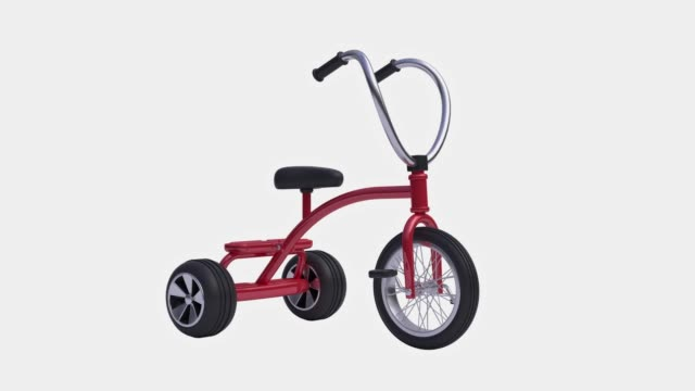 red child bicycle/tricycle white background alpha clipping path 3d rendering motion - tricycle stock videos & royalty-free footage
