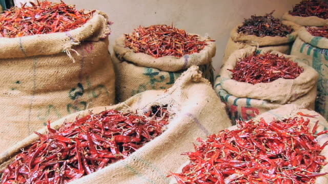 ms pan red chilies in sack / new delhi, india - sack stock videos & royalty-free footage