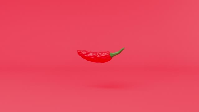 red chilli pepper cartoon style drop to floor 3d rendering motion - still life video stock e b–roll
