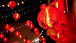red chinese lantern hanging, decoration for chinese new year celebration