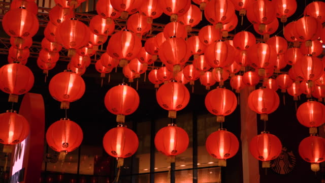 vídeos de stock e filmes b-roll de red chinese lantern in chinese new year 2020 festival in chinatown at bangkok, thailand - cultura chinesa