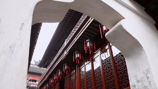 ms red chinese lanterns hanging as decoration / shanghai, china - temple building stock videos & royalty-free footage