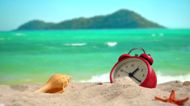 a red clock on the beach at sunset. - conch stock videos & royalty-free footage