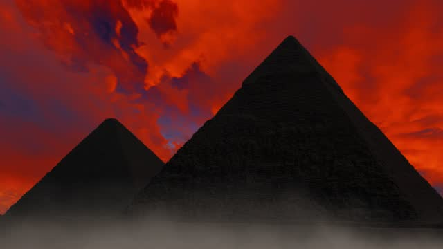 red clouds moving timelapse above pyramid - atmospheric mood stock videos & royalty-free footage