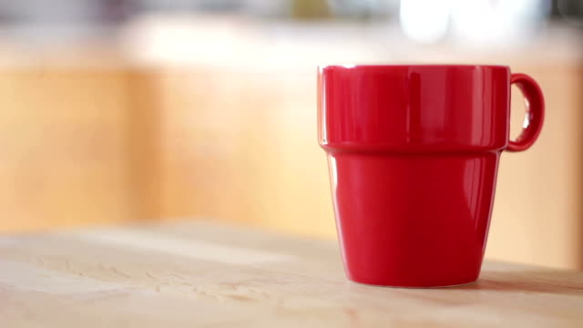 red coffee cup - kitchen - coffee drink stock videos & royalty-free footage