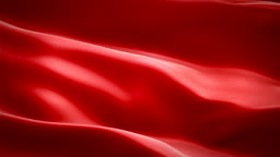 Red colored glossy fabric cloth textile satin background seamless loop waving animation