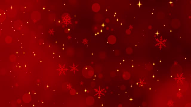 Red confetti, snowflakes and bokeh lights on the red Christmas background