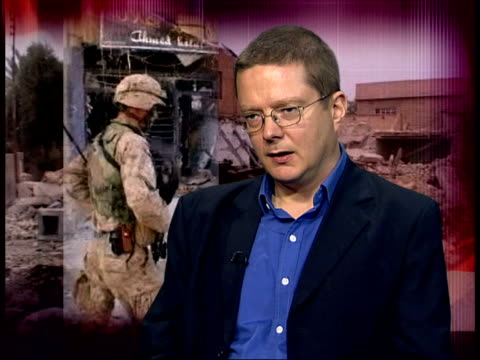 red cross cruelty comments/ fallujah graves/ attacks itn london int dr toby dodge interview sot think there was simplistic and incorrect view that if... - falludscha stock-videos und b-roll-filmmaterial