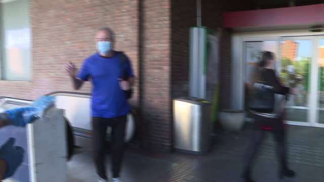 vídeos y material grabado en eventos de stock de red cross volunteers deliver masks at chamartín station during phase 0 of the government de-escalation at the start of week 8 of the state of alarm... - red nose day