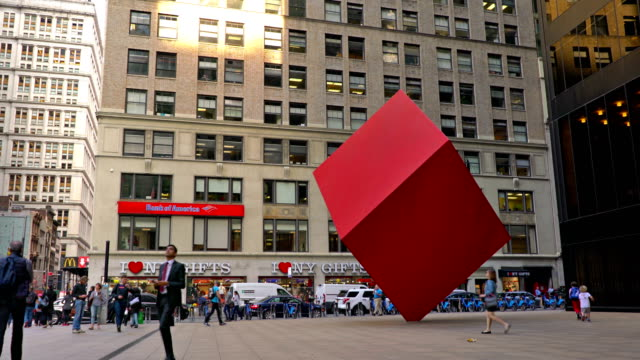 red cube, broadway - bank of america stock videos & royalty-free footage