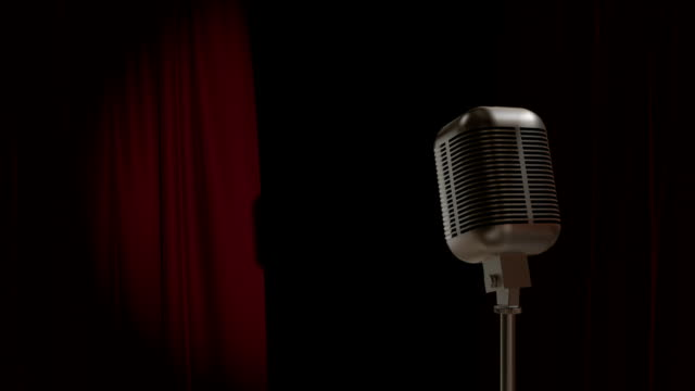 red curtain opening with retro microphone - microphone stock videos & royalty-free footage