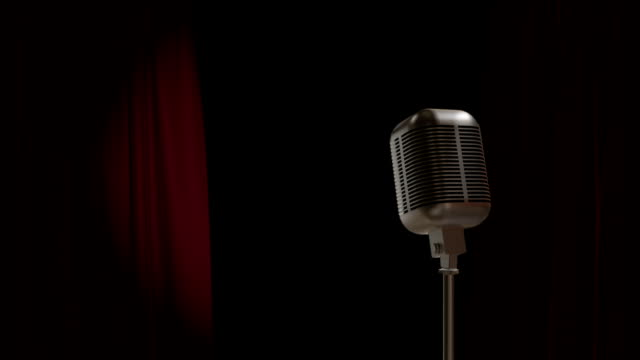 red curtain opening with retro microphone - microphone stock videos and b-roll footage