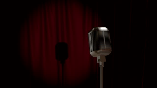 red curtain with retro microphone - microphone stock videos and b-roll footage