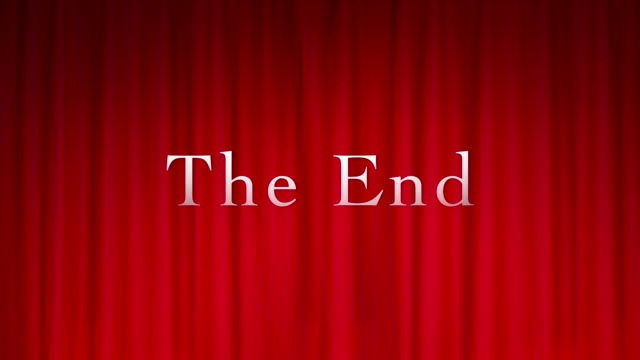 終わりのタイトルを持つ赤いカーテン - 完了する点の映像素材/bロール