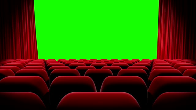 HD : Red curtains open and close with green screen, Theater Opening.