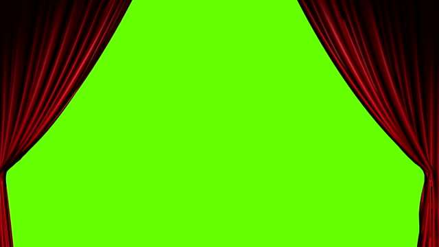 stockvideo's en b-roll-footage met red curtains open and close with green screen - theater