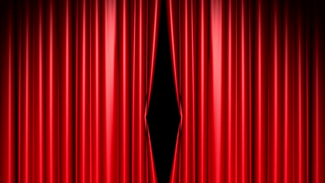 red curtains opening includes alpha luma matte - theatrical performance stock videos & royalty-free footage
