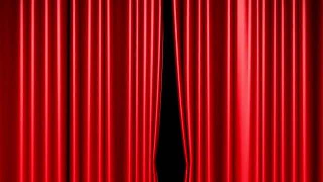 red curtains opening includes alpha luma matte - curtain stock videos & royalty-free footage