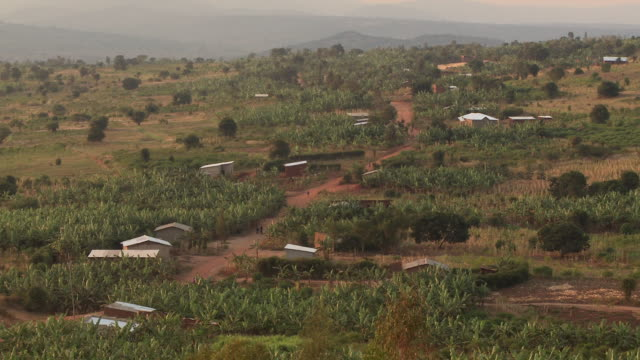 A red dirt road cuts through a small farming village in Rwanda.