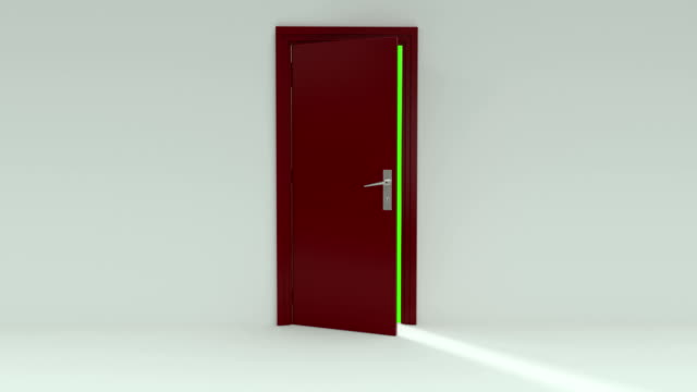 red door opening with alpha channel and green screen - door stock videos & royalty-free footage