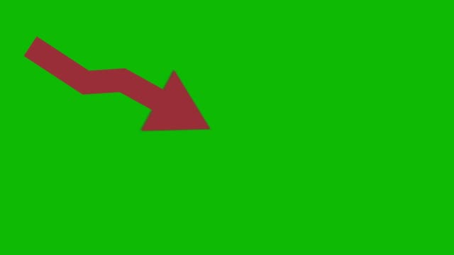red downward crisis animated icon on green screen. economic simple moving arow - moving down video stock e b–roll