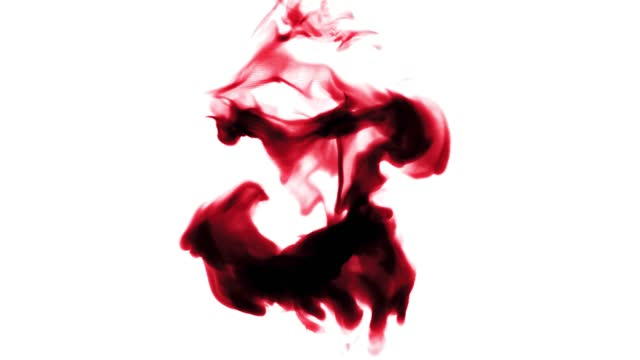 red drop of blood falls in water and spreads. paint mixed on white background isolated. 3d rendering. - positive emotionen stock-videos und b-roll-filmmaterial