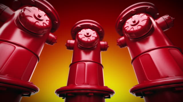 red fire hydrants in a row. loopable cg. - fire hydrant stock videos & royalty-free footage