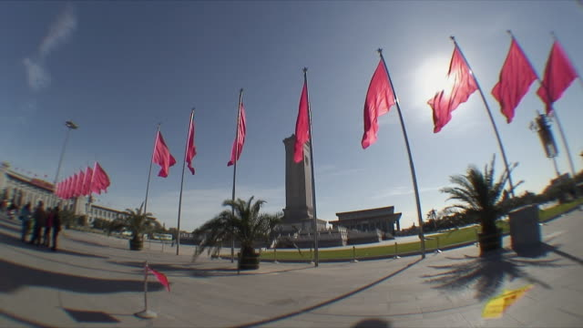 ws red flags and poles in tiananmen square / beijing, china - chinese flag stock videos and b-roll footage
