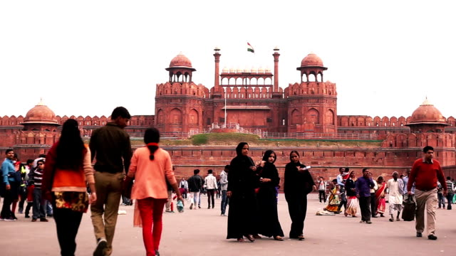 red fort delhi, india - governo video stock e b–roll