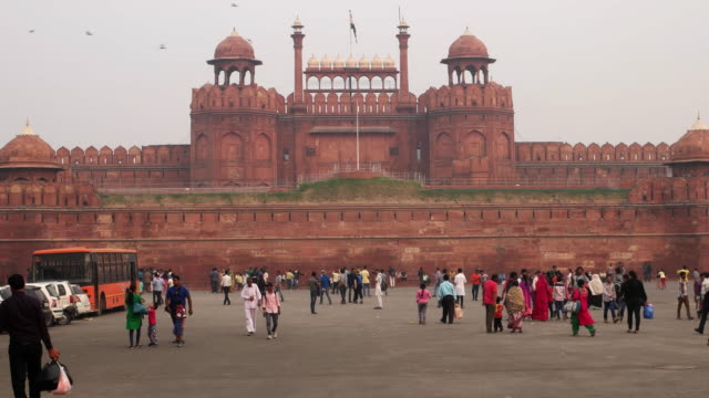 Red Fort India, a unesco world heritage site, crowded with tourists