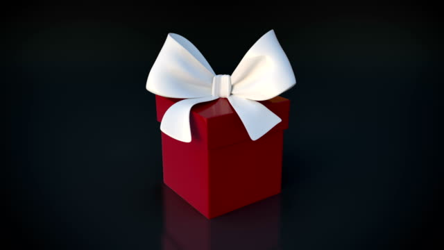 red gift box opening animation and zoon in camera action - christmas gift stock videos & royalty-free footage