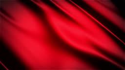 Red glossy cloth satin realistic seamless loop waving animation