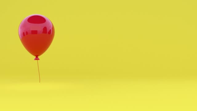 red glossy reflection 3d rendering balloon levitation yellow minimal scene - ball stock videos & royalty-free footage