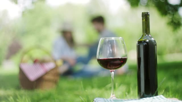Red grape and bottle of red wine with romantic couple in background in public park