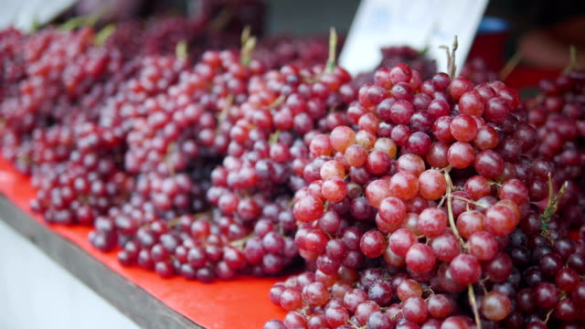 Red grape on market.